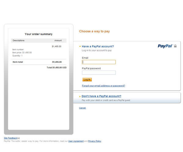 Example of PayPal on Freewebstore
