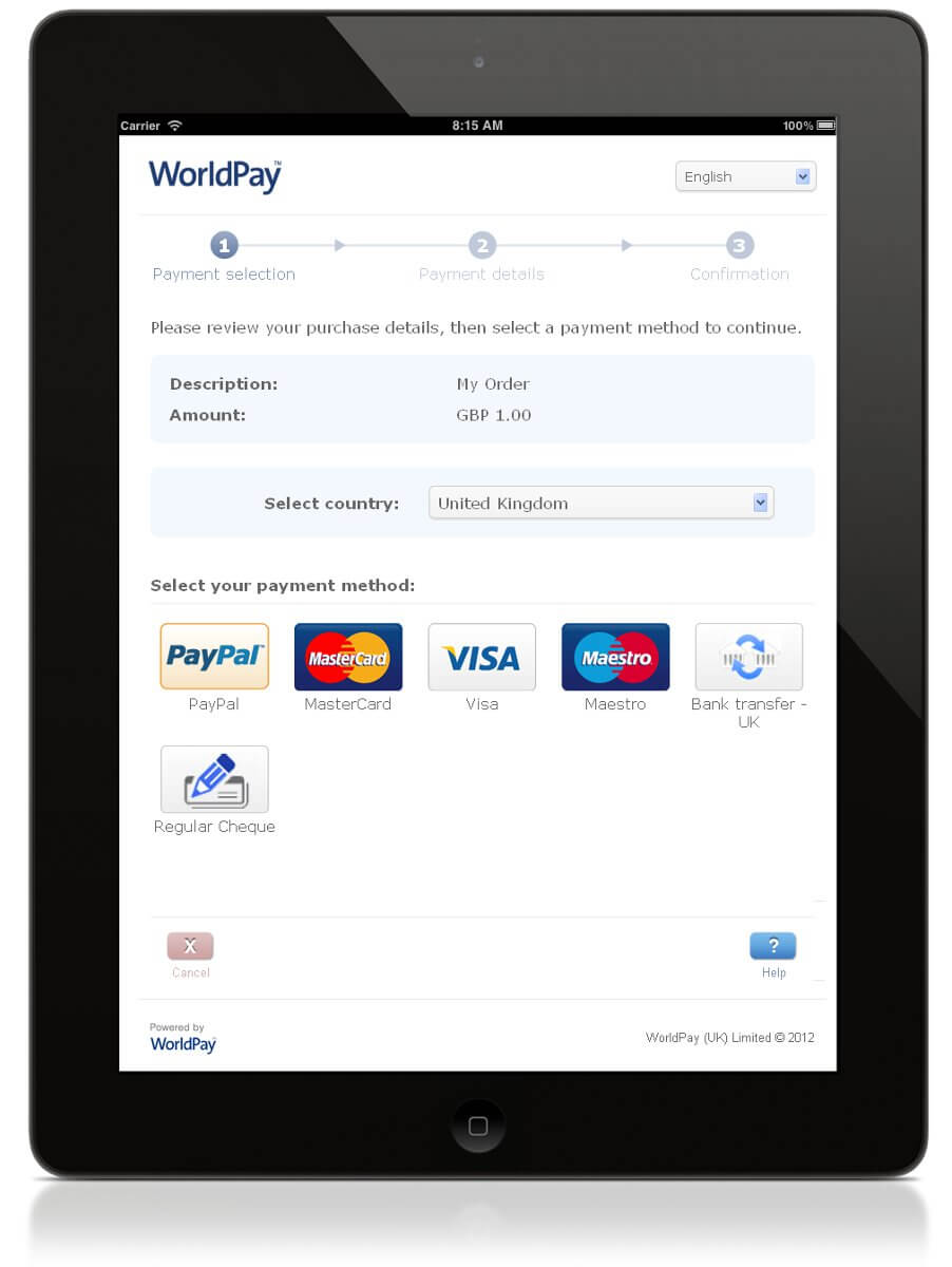 Example of Worldpay on Freewebstore