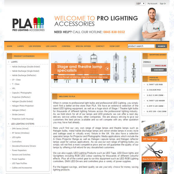 Freewebstore featured site prolighting