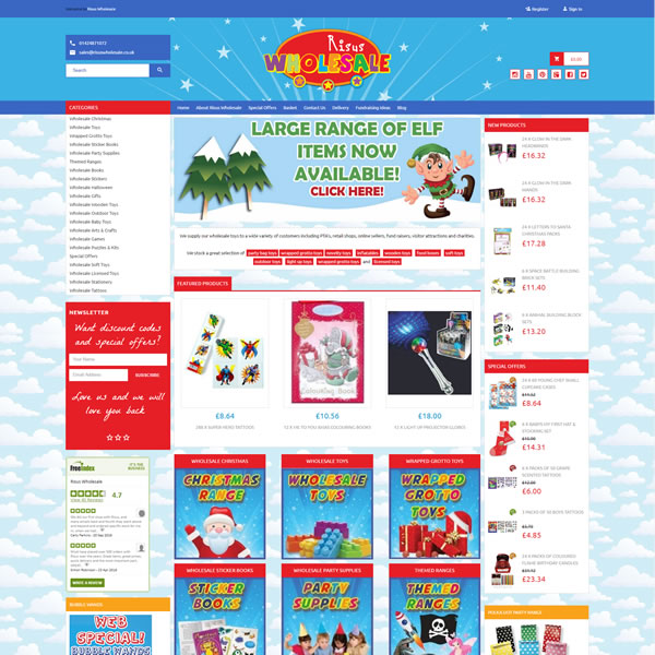Freewebstore featured site Risus Wholesale